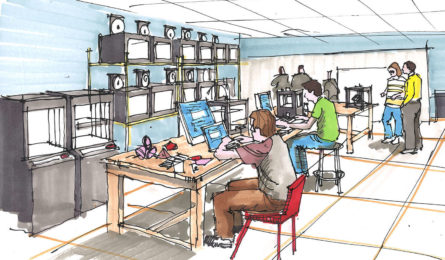 Hand Sketch of a 3D Printing Lab