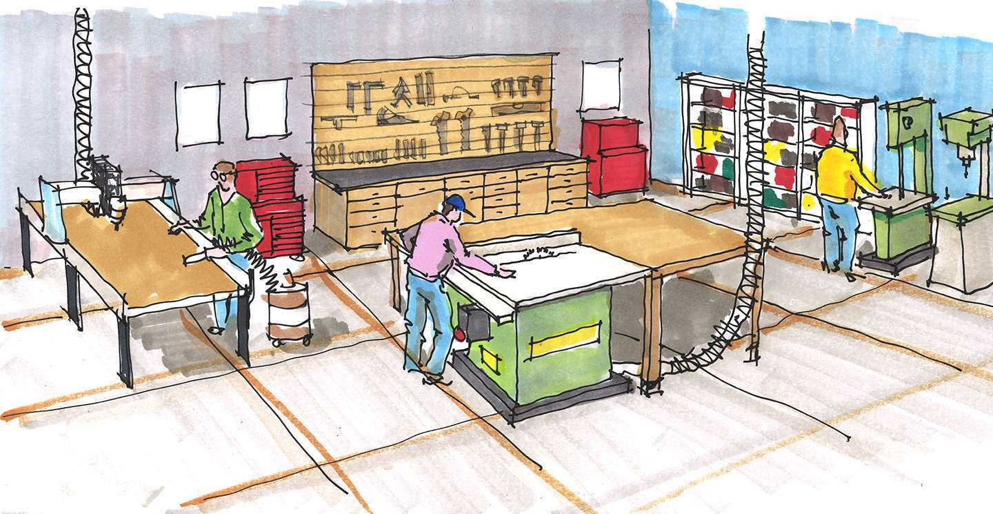 Hand Sketch of a Woodworking Lab